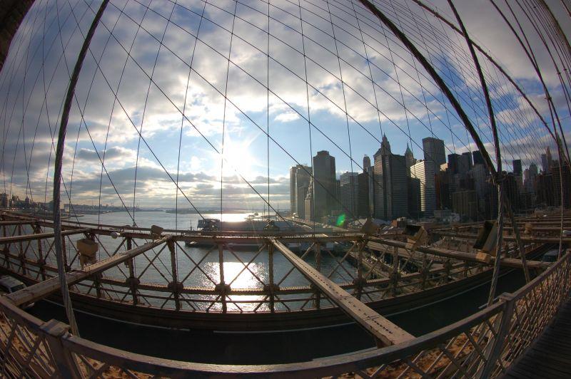 Fisheye View from the Brooklyn Bridge