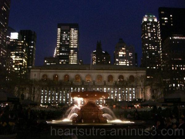 evening at Bryant Park, Manhattan