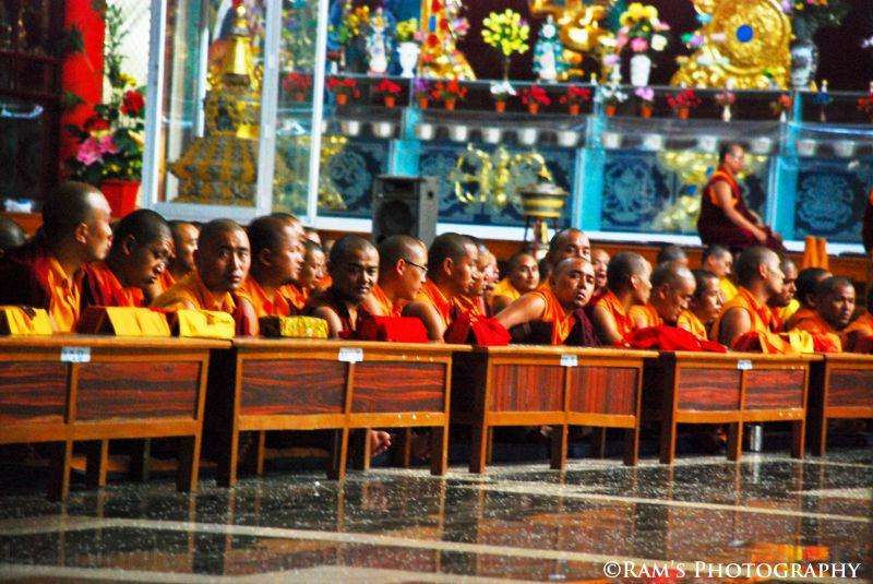 Buddist Monks offering prayes..
