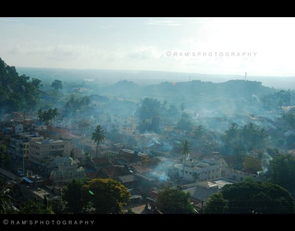 Arial View of Shravanabelagola town at early hours
