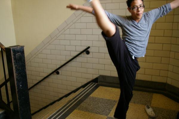 Jason Kicks On The Stairs