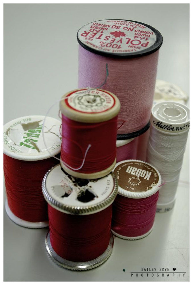 Stacked Spools Of Thread