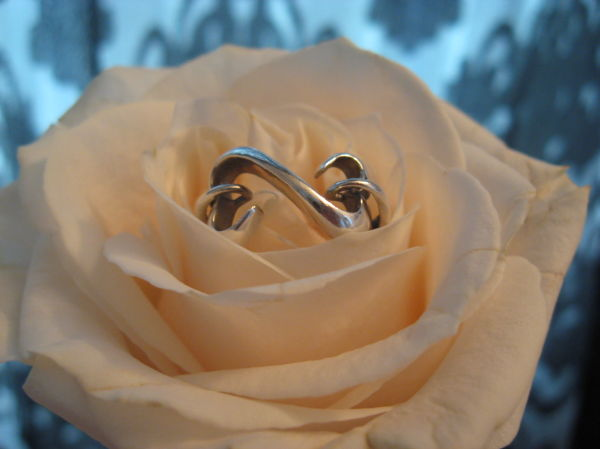 Open heart ring on a rose