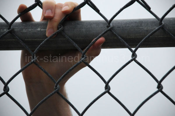 Hand grasping on fence