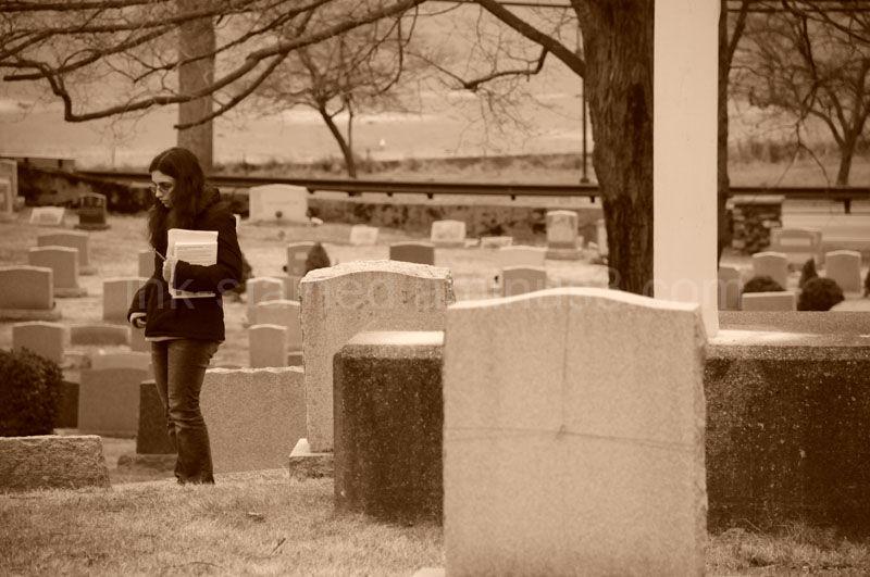 Walking through a graveyard