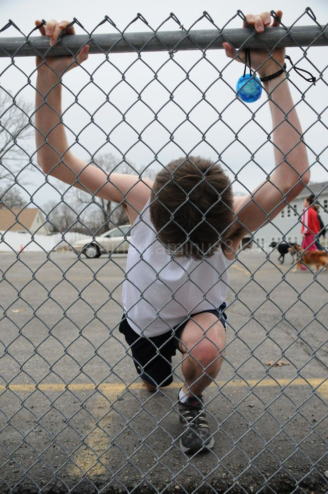 Stretching using the fence