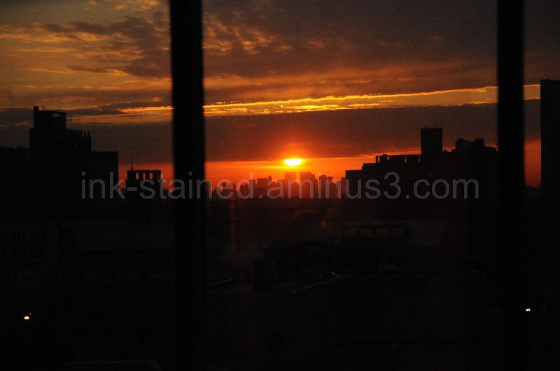 Sunrise over New York City from Newark