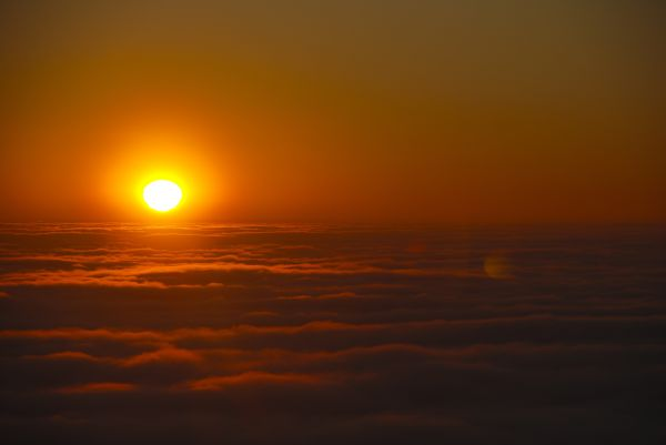 sunset fog valley