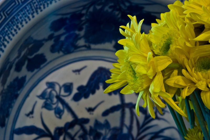blue porcelain yellow margerite