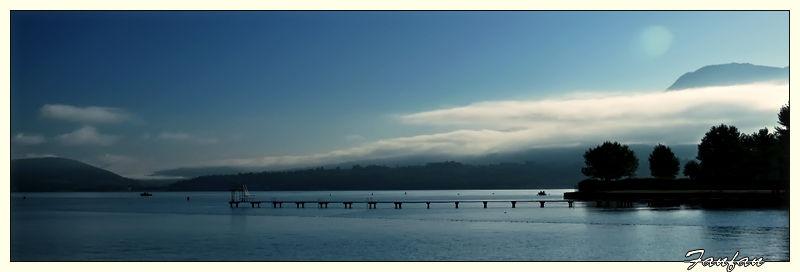 lever de soleil au lac du bourget-du-lac