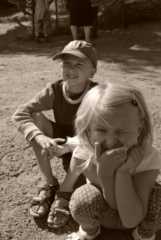 Siblings listening...or almost