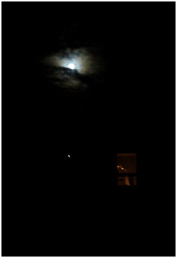 full moon cloudy evening