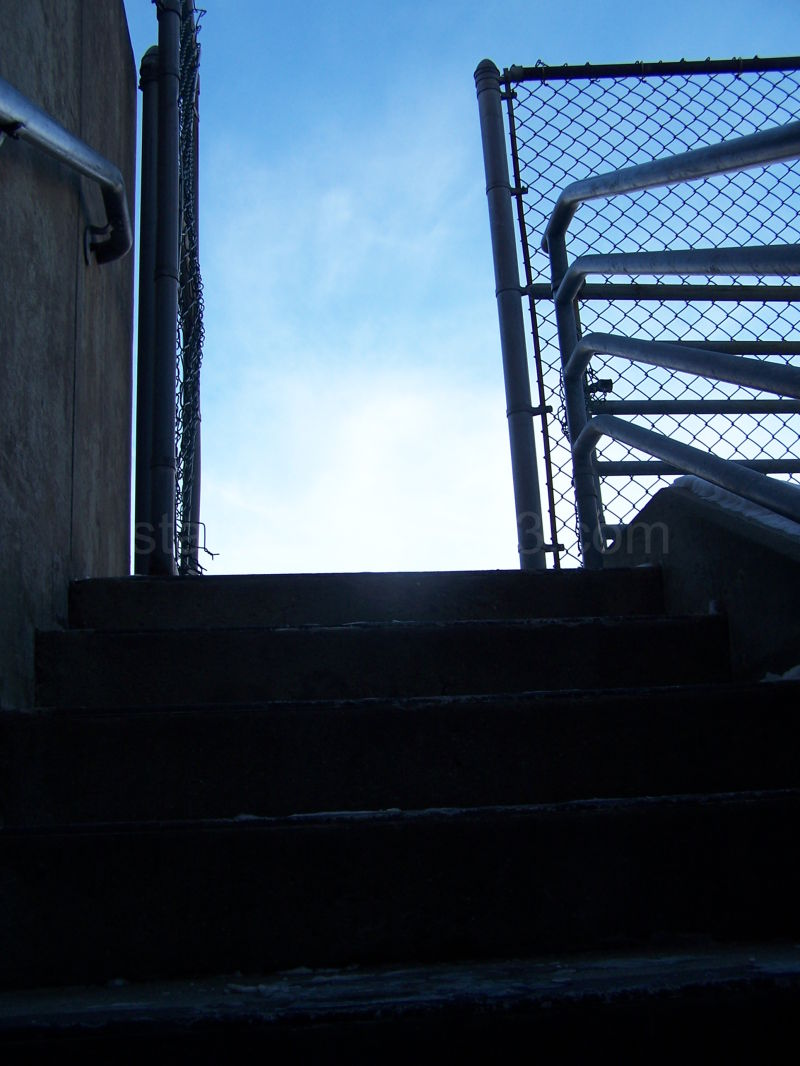 Iced stairs lead to a cold blue sky