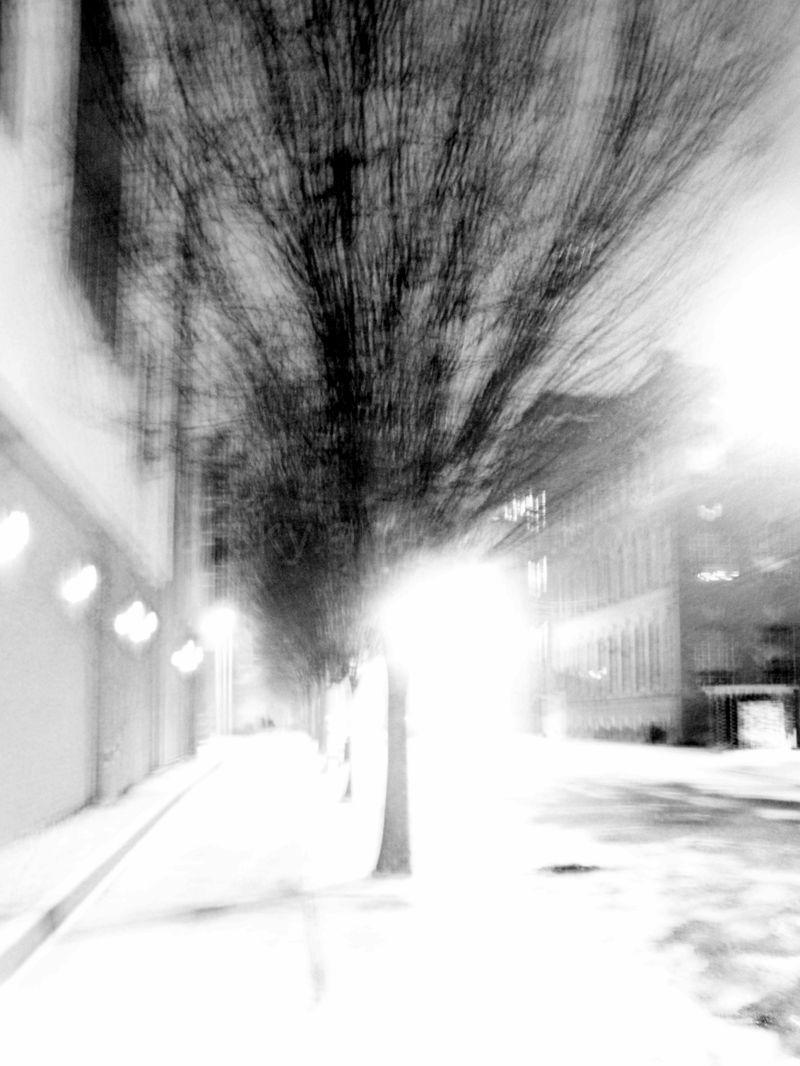 Overexposure of a wintry city street