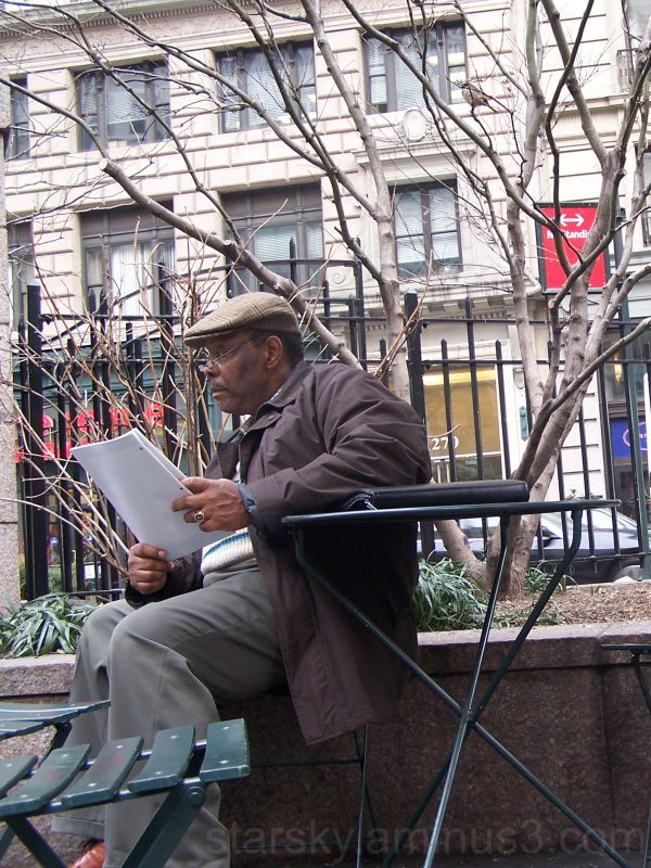 Old man reading in a park.