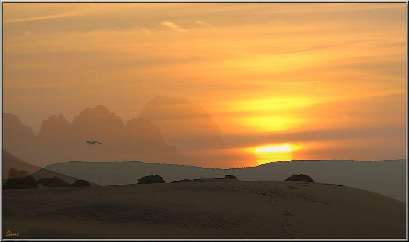 Coucher de soleil sur le désert du Tin Rerhoh .