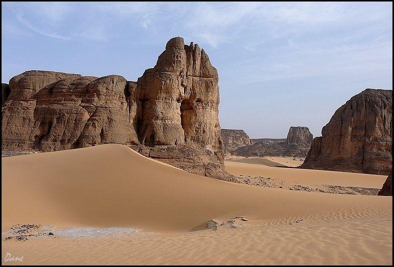 """les dunes s""""éparpillaient entre mesas et roches ."""