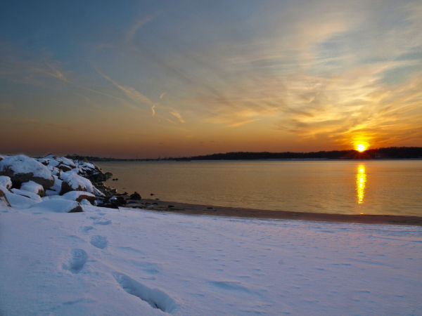 Orchard Beach Winter Sunset