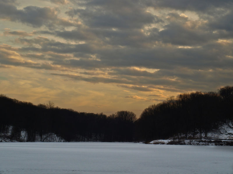 Frozen lake at Sundown