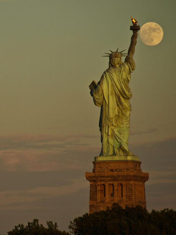 Lady Liberty's Full Moon