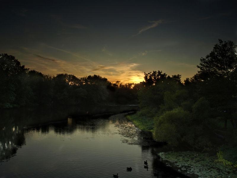 """Lake Sunset in Boston """"HDR"""""""