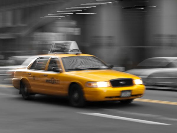 New York City Cab in Motion