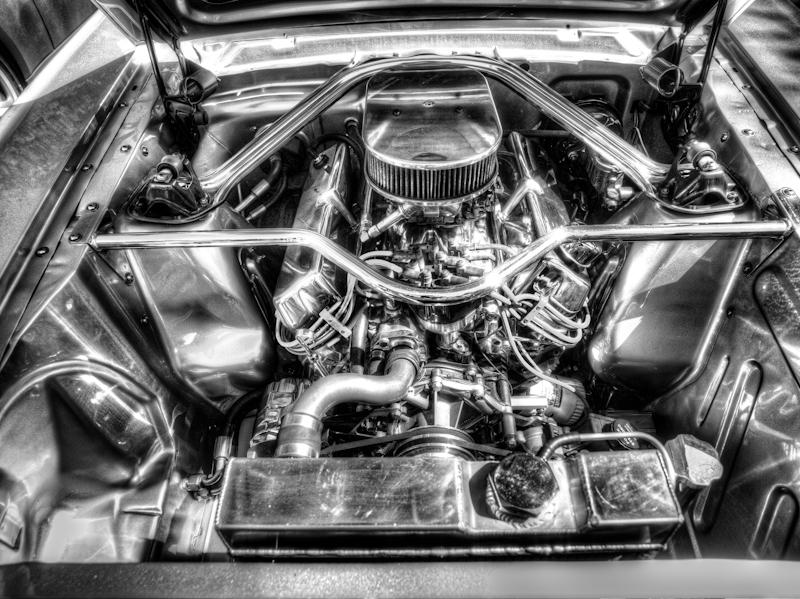 Muscle car in monochrome