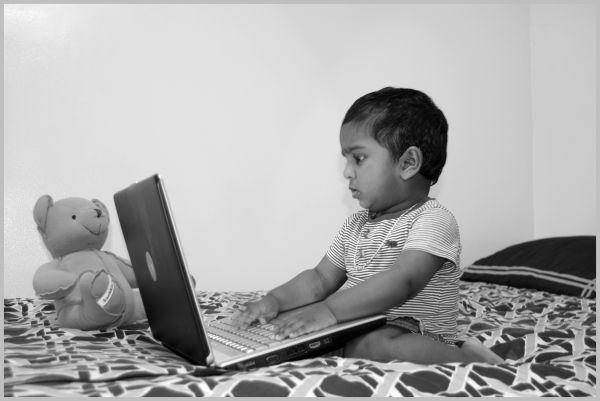 Aditya with Laptop