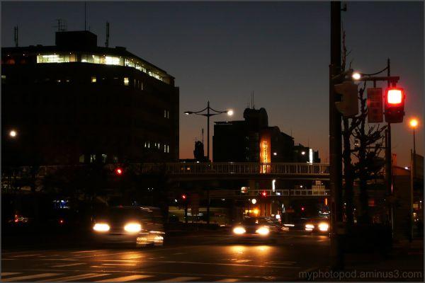 A nightfall crossing kyoto LEICA
