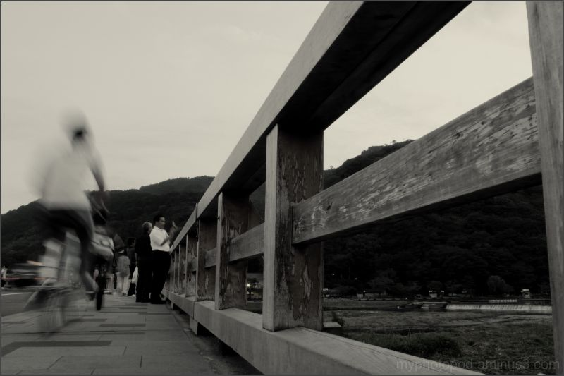 cyclist Togetsu-kyo Bridge kyoto arasiyama LEICA