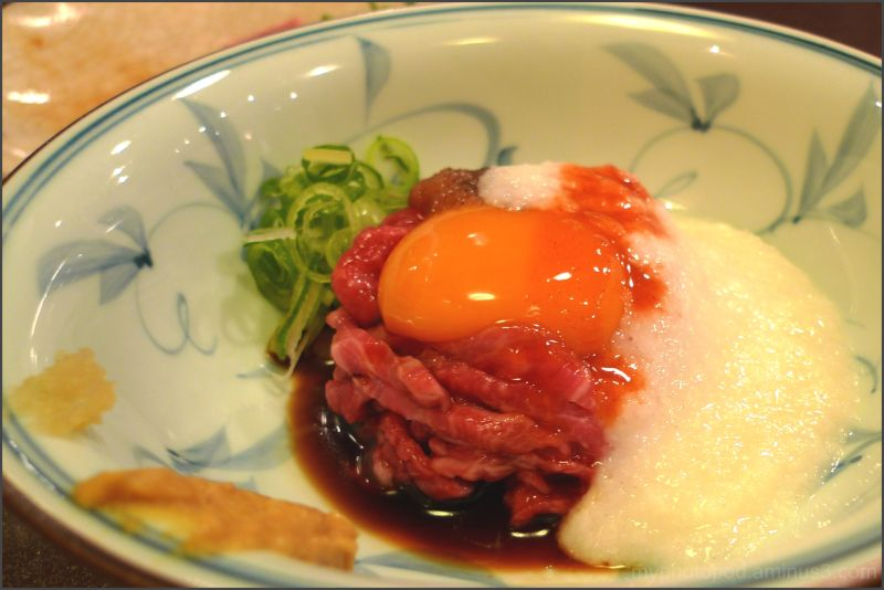 raw beef with sauce yolk LEICA