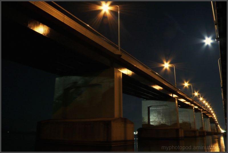 BIWAKO bridge and moonlight LEICA