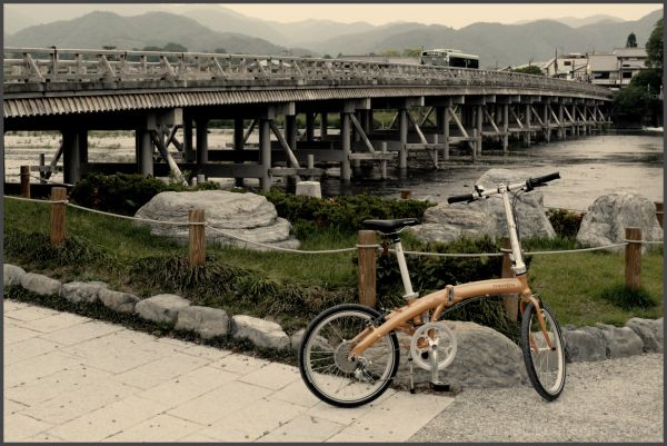 Bicycle and Togetsu-kyo Bridge