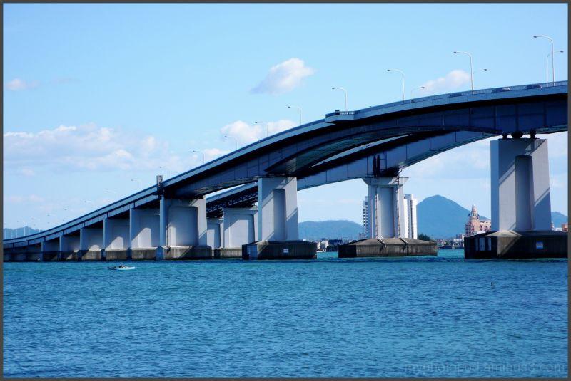 The blue sky, a blue lake, Lake Biwa-ko Bridge