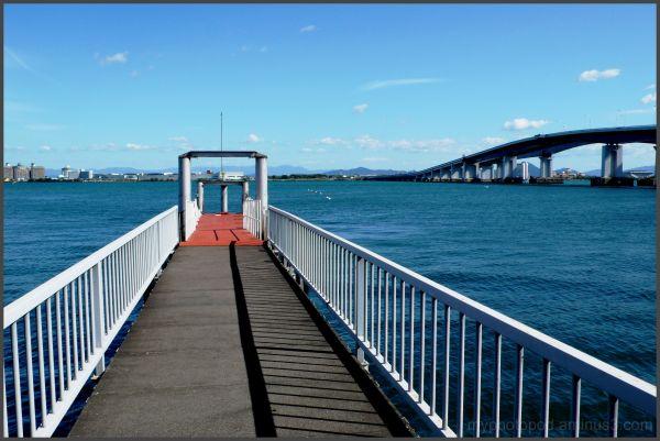 from a pier Biwa-ko Bridge