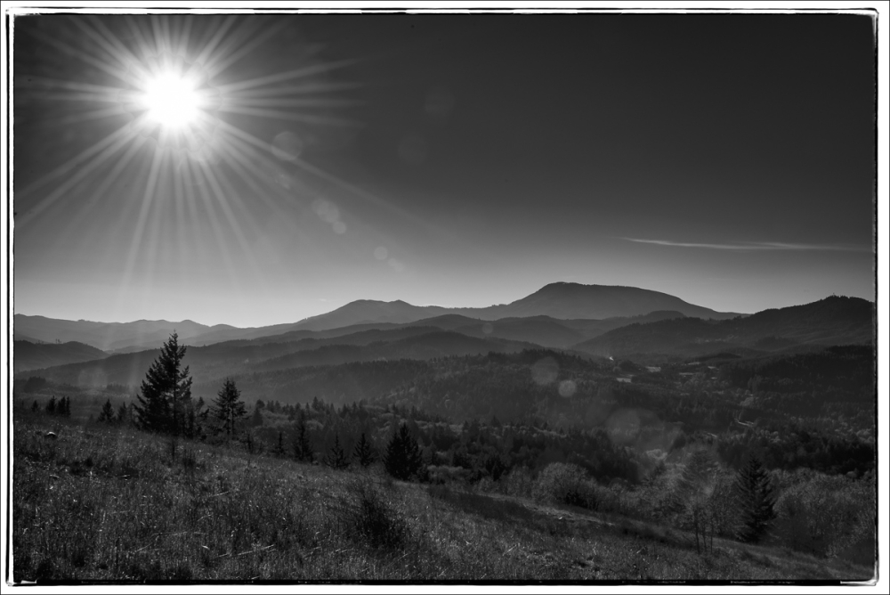Sunburst Over the Coastal Range BW