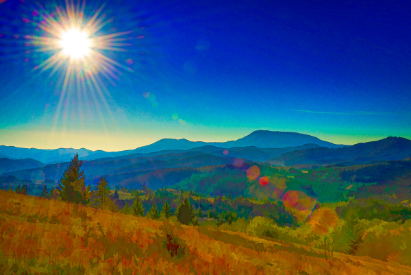 Sunburst Over the Coastal Range (Topaz Simplify)