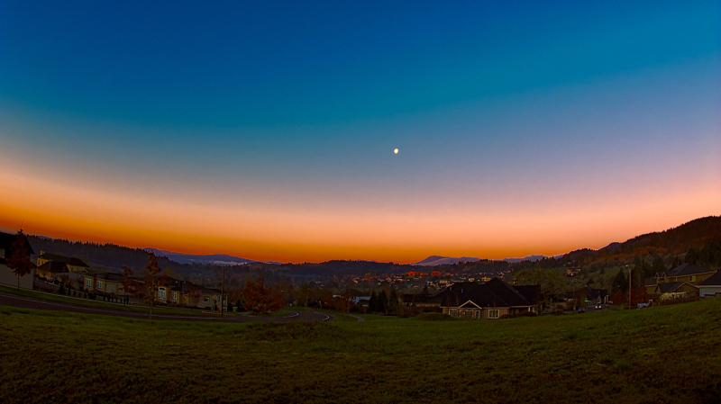 """Moonset/Sunrise Over Mary's Peak"" (fisheye)"