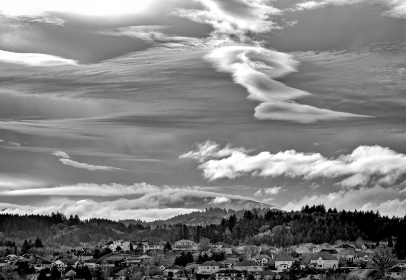 Clouds Over Mary's Peak BW
