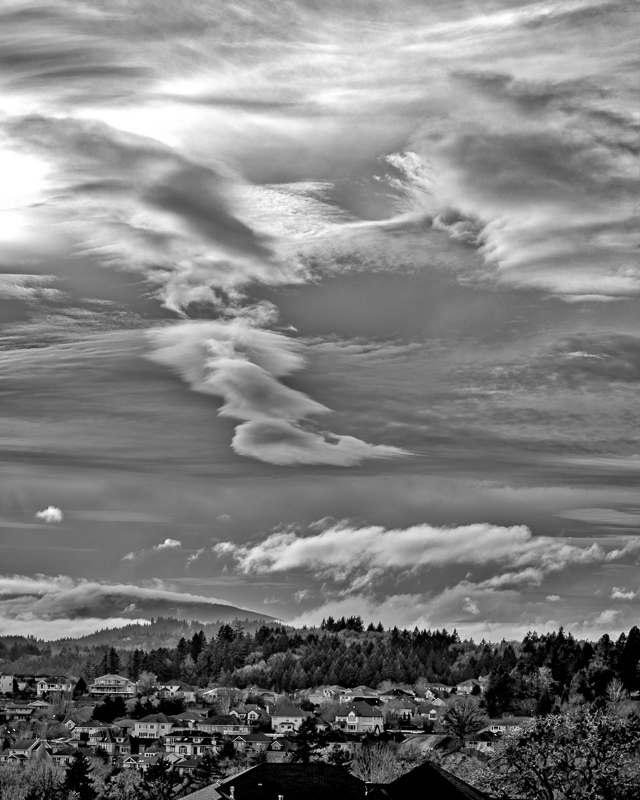 Clouds Over Mary's Peak  BW (vertical)