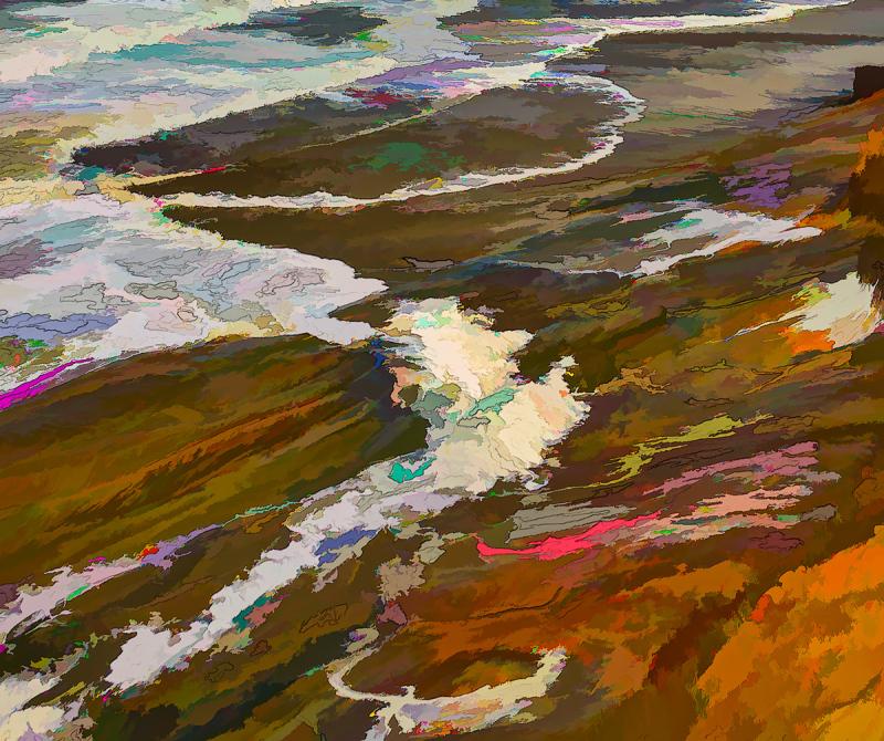 Ocean Abstract #2; Topaz Line&Ink 3