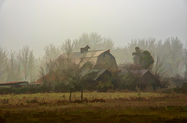Barn in the Fog (painterly)