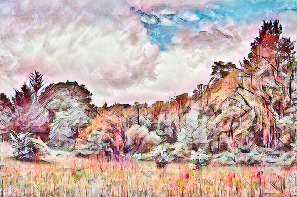 """Along Oak Ck Rd, Painterly"""
