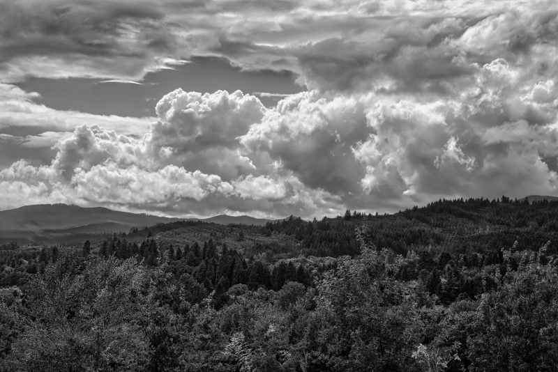 """Clouds Over the Coast Range BW"""