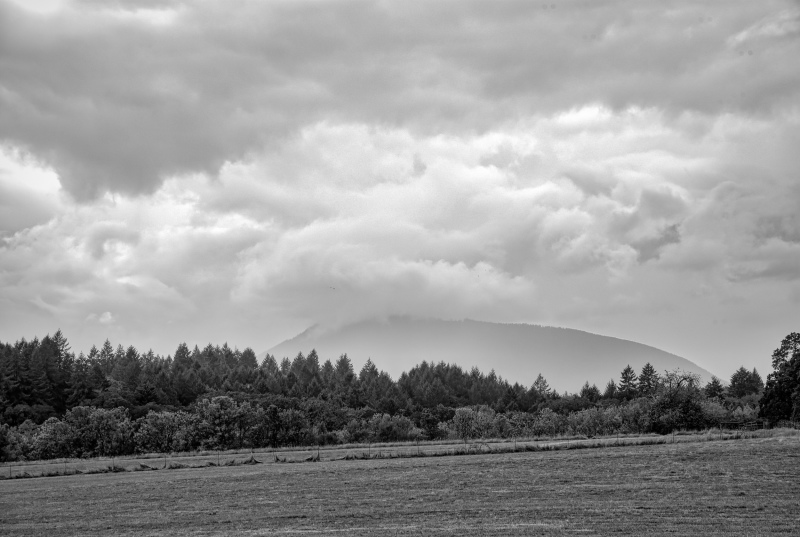 """It's Pouring Over the Coast Range BW"""