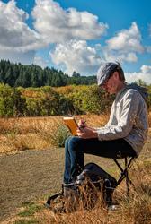 """""""Plein Air Artist at Work"""" (Bald Hill Farm)"""