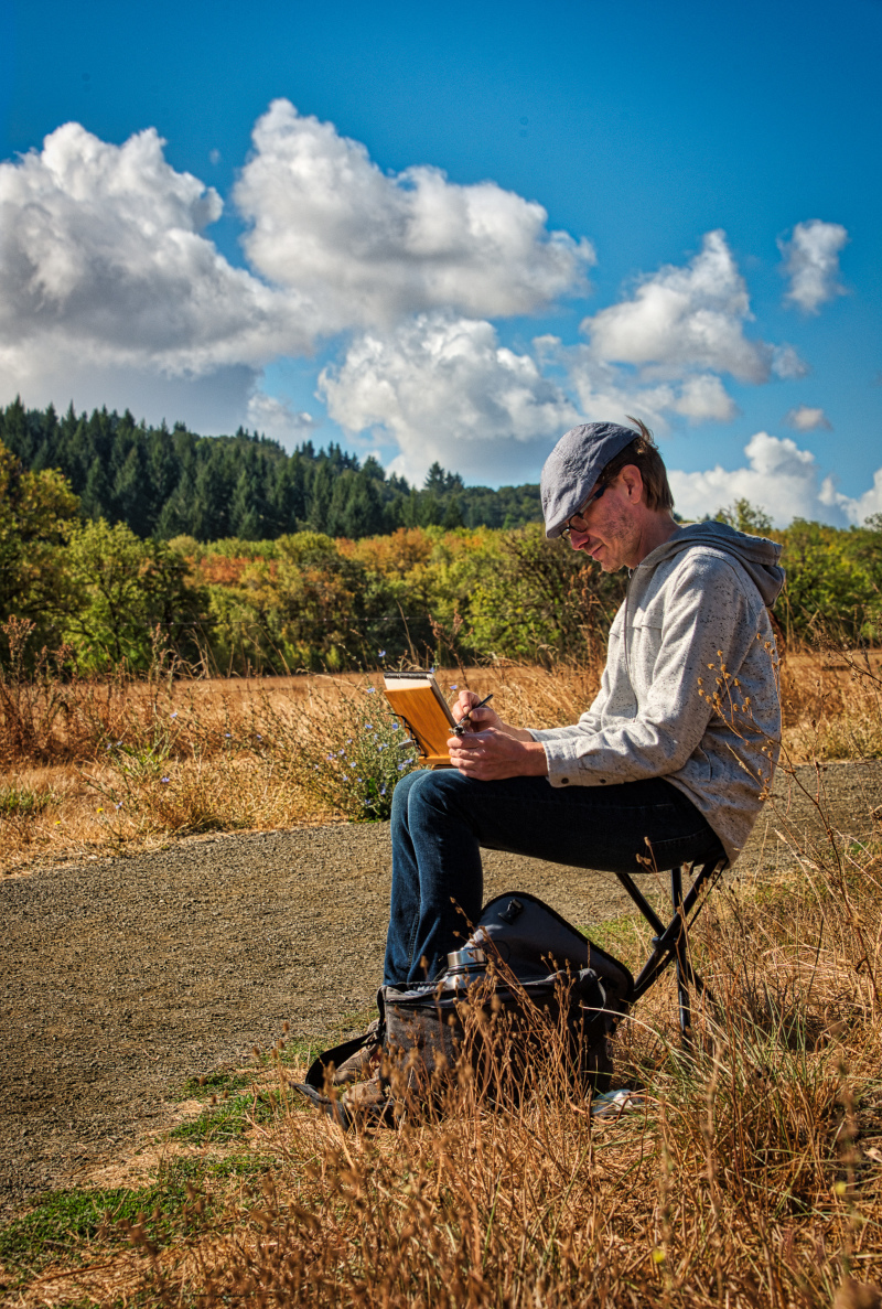 """Plein Air Artist at Work"" (Bald Hill Farm)"
