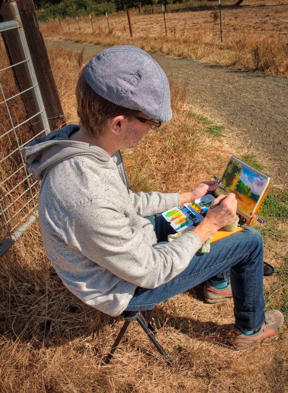 """""""Plein Air Artist at Work#2"""" (Bald Hill Farm)"""