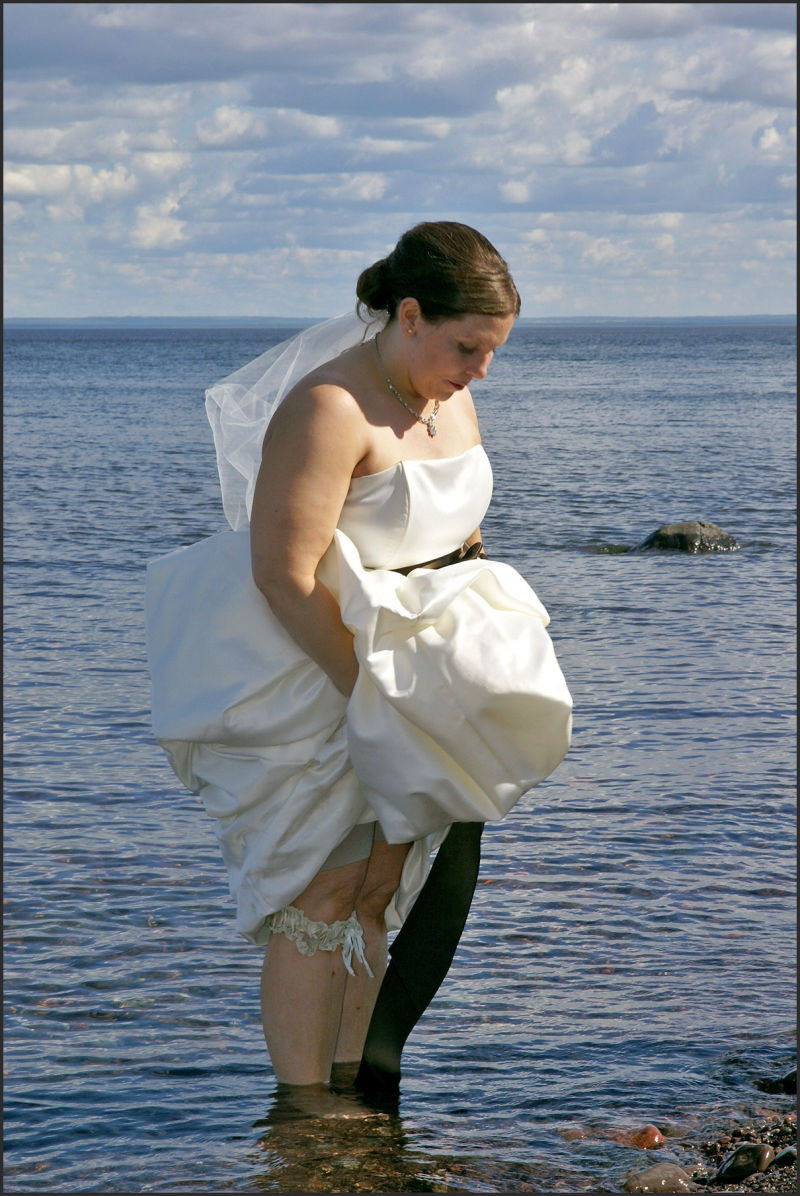 bride in the water