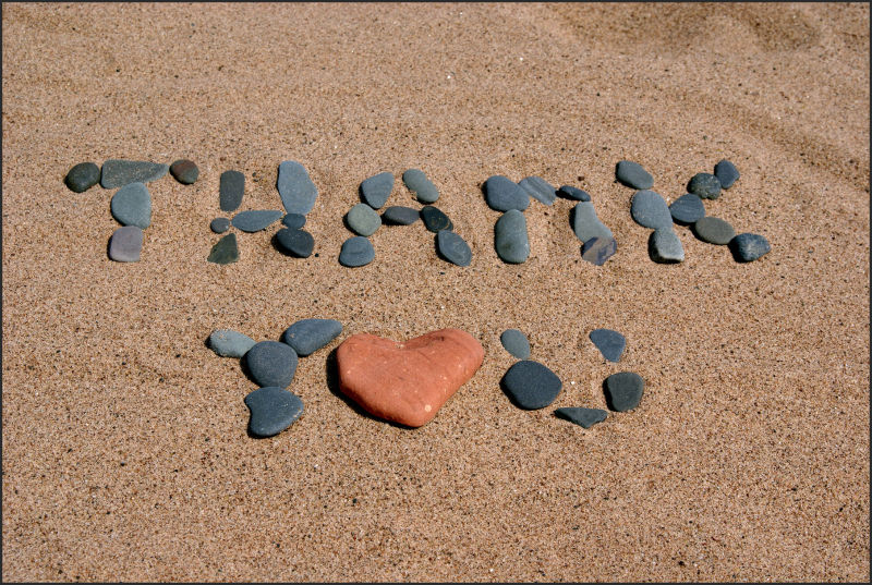 thank you in sand